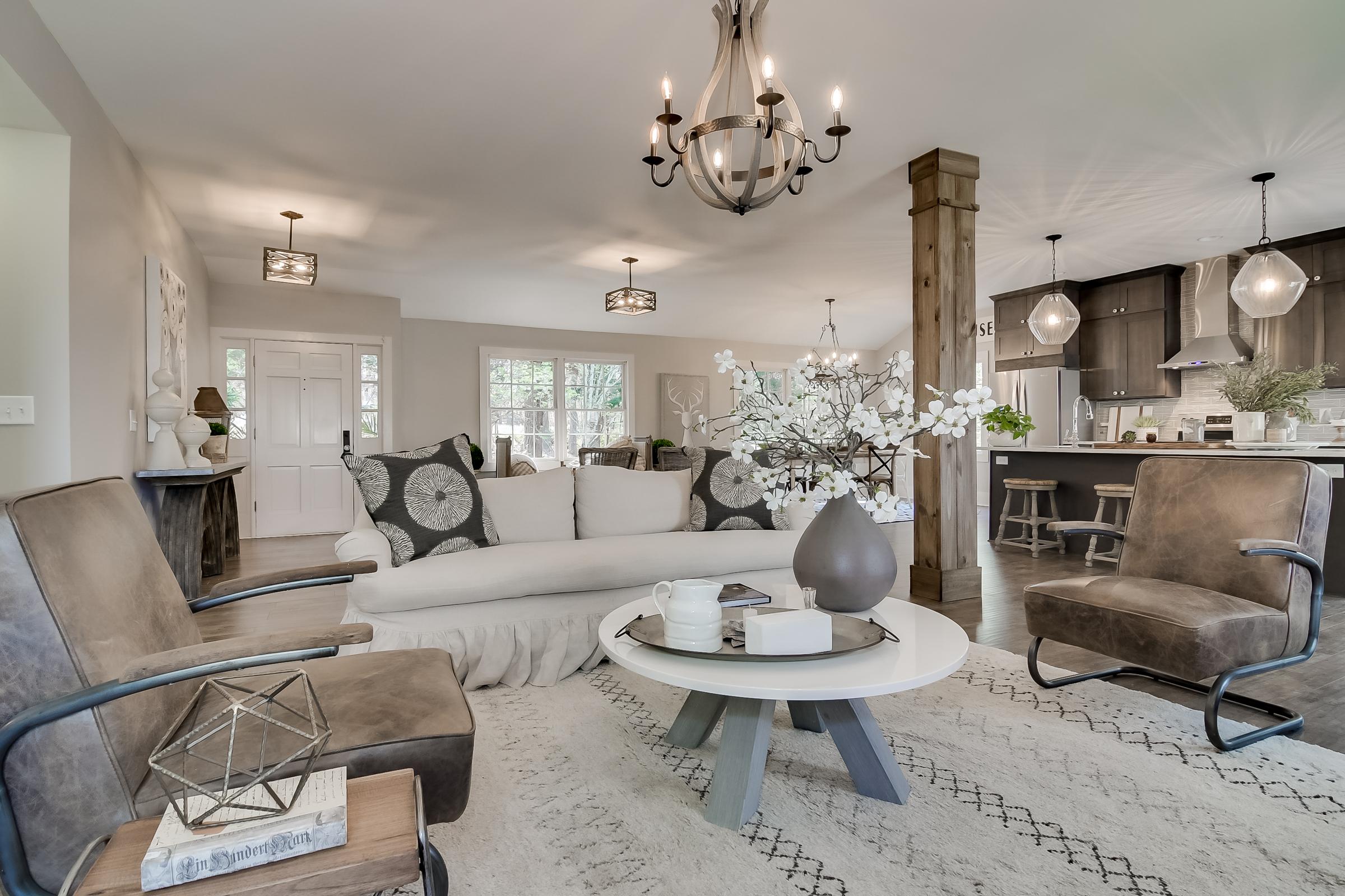 Lighting: Savoy House, Staging: Urban Farmhouse, Custom Furniture: Junc2Funkt, Cabinets: Forevermark Cabinetry, Flooring: Tarkett