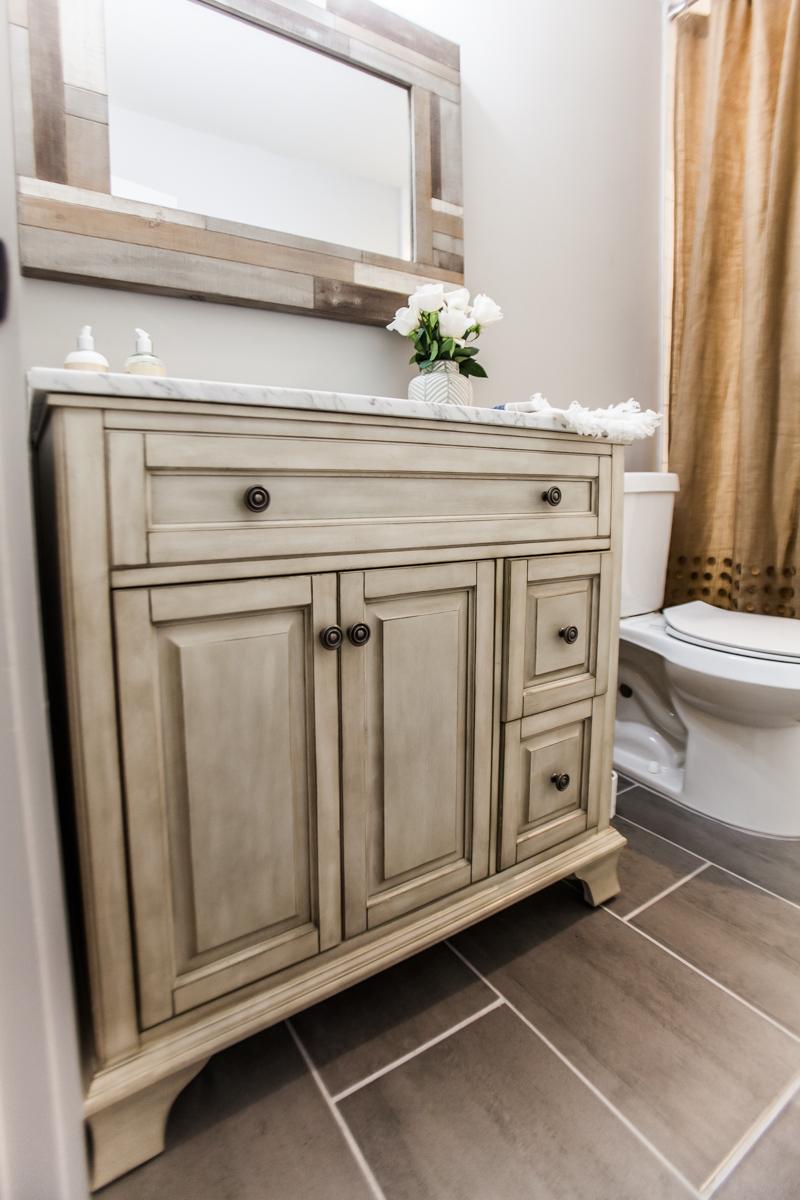 Door hardware: Delaney Hardware, Vanity: Foremost Bath, Staging: Urban Farmhouse